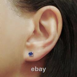 1.00 Ct Tanzanite Stud Earrings 14k White Gold Round Cut Basket Screw Back 5mm