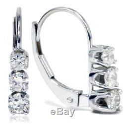1/2ct 3 Stone Diamond Earrings 14K White Gold