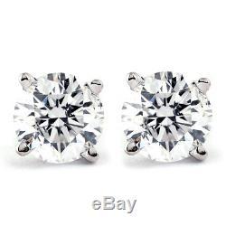 1 CT. T. W. Genuine White Diamond Studs 10K White or Yellow Gold