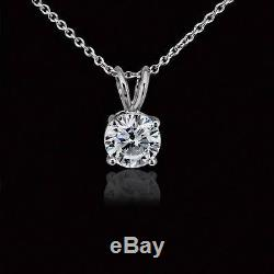 1 Carat Round Solitaire Pendant Necklace Cable Chain Solid 14k Real White Gold