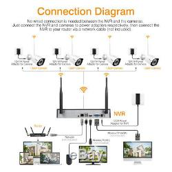 1080P 8CH Wireless WiFi CCTV Camera System NVR Outdoor IP Cameras Home Security