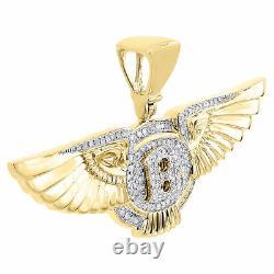 10K Yellow Gold Diamond Bentley Pendant Mens Flying B Logo Wing Charm 0.59 Ct
