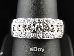 14K New Mens White Gold Round Cut Diamond Ring Wedding Band 1.2 Ct 7.5 Mm
