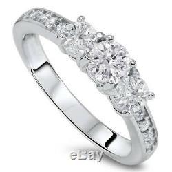 1ct Diamond 3 Three Stone Engagement Ring 10K White Gold