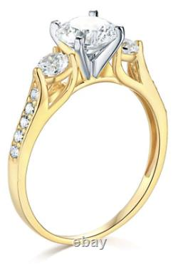 2.25 Ct Round Cut 3-Stone Engagement Wedding Ring Real Solid 14K Yellow Gold