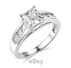 2.5 Ct Princess Cut Engagement Wedding Ring Channel Setting Solid 14K White Gold