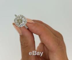 2.50 CT Round Cut Halo Diamond Engagement Ring Round SI2 G 14K White Gold