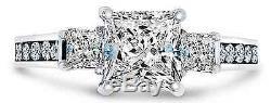 2.50 Ct Engagement Wedding 3-Stone Ring Real 14K White Gold Diamond Simulation