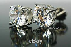 2.50 Ct Round Cut Stud Earrings 14k White & Yellow Gold Gold Simulated Diamonds