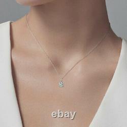 2 Ct Round Brilliant Cut Pendant 16+2 Solid 14k White Gold Solitaire Necklace