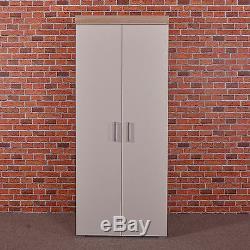 2 Door Double Wardrobe in White & Sonoma Oak Effect Bedroom Furniture Cupboard