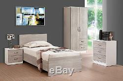2 Door Wardrobe 2 Drawers Combi Grey Oak High Gloss & White Ash