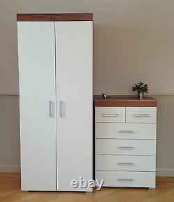 2 Door Wardrobe & 4+2 Chest of Drawers in White & Walnut Bedroom Furniture 6 Set