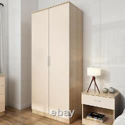 2 Door Wardrobe With Mirror High Gloss Large Storage 4 Colors Cupboard Furniture