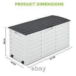 260L Outdoor Garden Storage Plastic Box Chest Tools Cushions Toys Lockable Seat