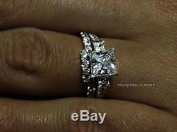 3.00 CT Princess Cut Ring Set Bridal Wedding Engagement Real 14k White Gold