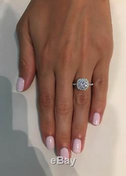 3.00 ct Round Cut D VS1 Cushion Halo Diamond Engagement Ring 14K White Gold