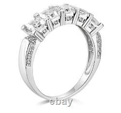 3 Ct Princess Cut Real 14k White Gold 5-Stone Wedding Anniversary Band Ring