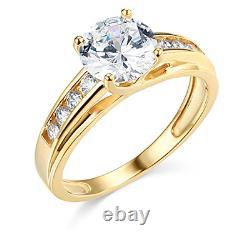 3 Ct Round Brilliant Cut Engagement Wedding Ring Trellis Real 14K Yellow Gold