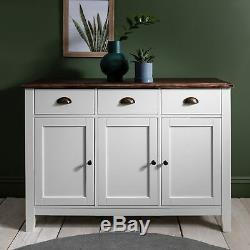 3 Drawer Sideboard Buffet White Grey Wooden