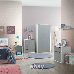 3 Piece Bedroom Furniture Set Wardrobe 3+2 Chest Drawers Bedside White & Grey
