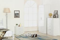 3 Piece High Gloss Bedroom Furniture Set Wardrobe Chest Bedside White Matt White