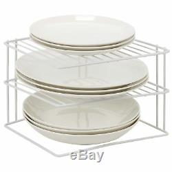 3 Tier White Corner Kitchen Plate Rack Cupboard Shelf Insert Tidy Organiser New