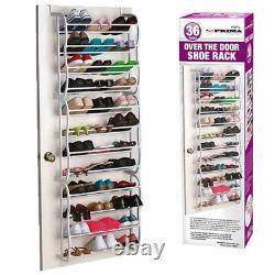 36 Pair Over The Door Hanging Shoe Hook Shelf Rack Holder Storage Organiser New