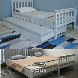 3FT Single Guest Bed Day Bed Frame &Trundle With Underbed Wooden White Grey UK