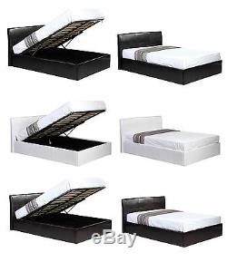 3ft 4ft 4ft6 5ft Ottoman Storage Gas Lift Up Faux Leather Bed Black Brown White