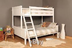3ft 4ft Triple wooden Bunk Bed kids Pine White or Grey & Mattress Option
