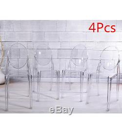 4 x Ghost Transparent Clear Chairs Dining Room Wedding Chair Bar Stackable UK