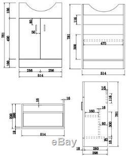 550mm Floorstanding Bathroom Vanity Unit & Basin Single Tap Hole White Gloss