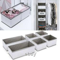 6 Section Canvas Storage Box Wardrobe Organiser Drawer Socks Ties Box Divide