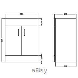 600mm White Vanity Unit Ceramic Basin Sink Bathroom Cloakroom Storage Cabinet