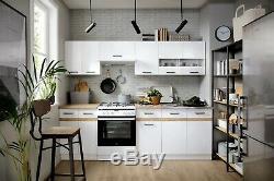 7 complete kitchen units set white high gloss Junona 240cm kitchen with worktops