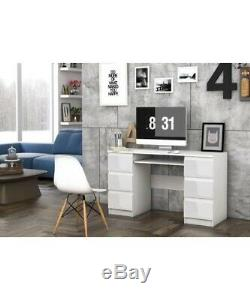 ARUOAL (CUBA) Functional Elegant High Gloss White Computer Desk With 6 Draws