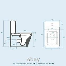 Acton Bathroom Square Close Coupled and Seat WC Toilet