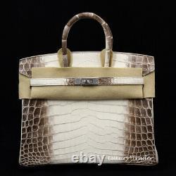 BRAND NEW HOLY GRAIL EXOTIC HERMES BIRKIN BAG 25 cm HIMALAYAN CROC CROCODILE PHW