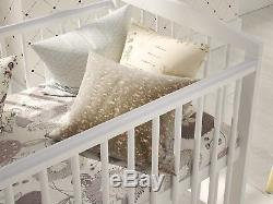Baby Cot Bed with Drawer Toddler Cot White Deluxe Aloe Vera Foam Mattress