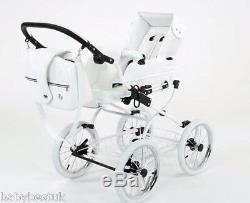 Baby Fashion Isabell Retro Baby Pram And Pushchair 2in1- White Leatherette