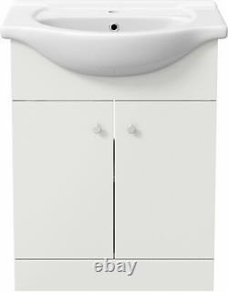 Bathroom Basin Sink Vanity Unit Single Tap Hole Floor Standing 650mm Matte White