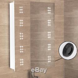 Bathroom LED Mirror Cabinet with Clock/Shaver Socket/Sensor Switch/Demister Pad