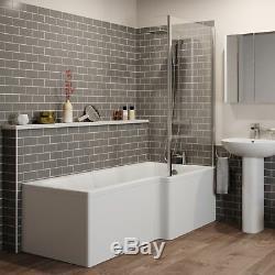 Bathroom Suite L Shaped RH Showerbath Screen Close Coupled Toilet Basin Pedestal