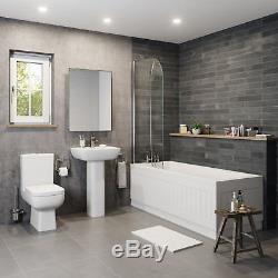 Bathroom Suite Pedestal Basin Sink Close Coupled Toilet & Straight Bath Bathtub