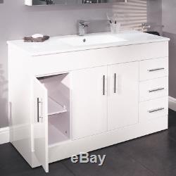 Bathroom Vanity Unit 1200mm Large Ceramic Sink White Floor Standing Storage