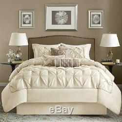 Beautiful 7pc Modern Elegant Ivory White Tufted Pin-tuck Ruffle Comforter Set