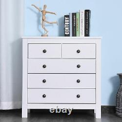 Bedroom Home 5 Chest Of Drawers with Feet & Handles White