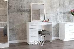 Birlea Lynx High Gloss All White 3 drawer Dressing Table bedroom furniture new