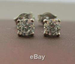 Brand New 2/5ct Diamond 9ct White Gold Stud Earrings £280 Freepost